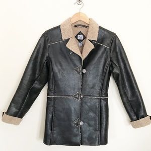 Vintage Y2K Silver Faux Leather Shearling jacket